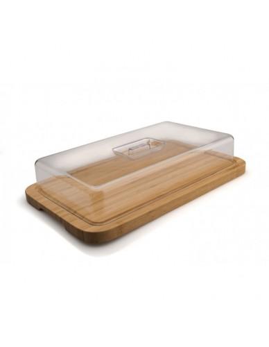 Pojemnik prostokątny z bambusową podstawą 39 cm x 24 cm x 7,5 cm