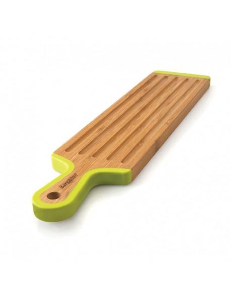 Bambusowa deska do krojenia w kształcie łopatki ze żłobieniami 43 cm x 10 cm x 1,5 cm